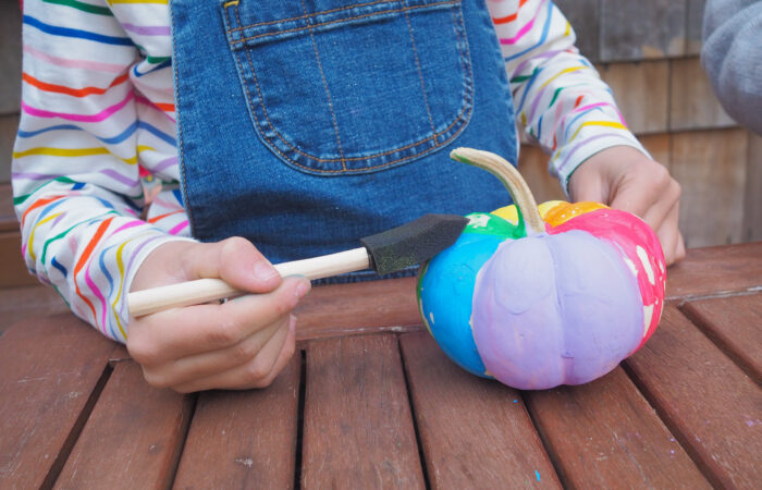 Fun Way to Decorate Pumpkins: Rainbow Painted Pumpkins